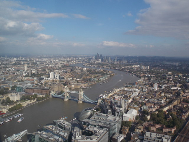 London: Tower Bridge and downriver from the Shard