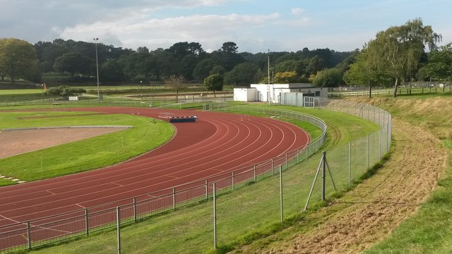 Northern end of the running track, Southampton Sports Centre