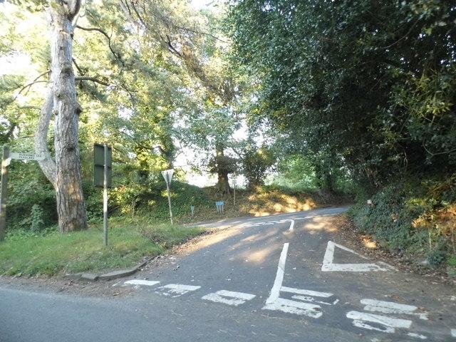 Hook Lane at the junction of Sandy Lane, Shere