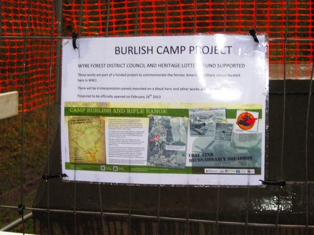 Burlish Camp Project information poster, near Stourport-on-Severn