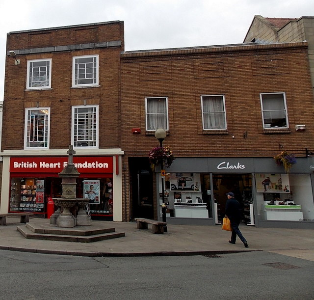 British Heart Foundation shop and Clarks shoe shop in Oswestry