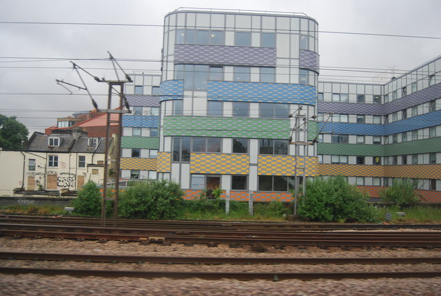 Colourful buildings by the East Coast Main Line