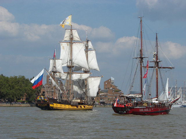 Tall ships in the Thames