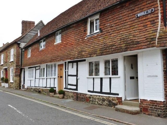 Tile hung timber framed cottages in Middle Street, Petworth