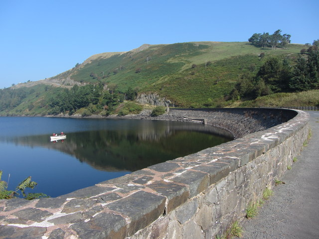 Bwlch-y-gle dam on the Clywedog Reservoir