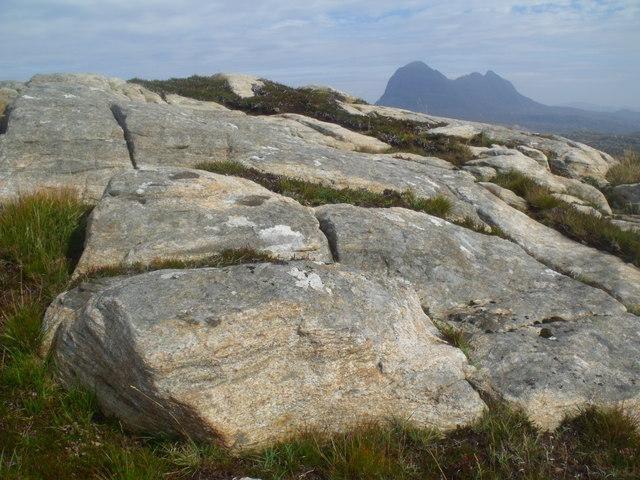 Summit rocks of cnoc above Loch a' Chapuill near Lochinver