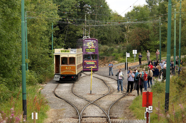 Trams and photographers at Glory Mine before the cavalcade