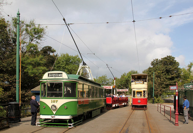 Blackpool trams in service at Wakebridge before the cavalcade