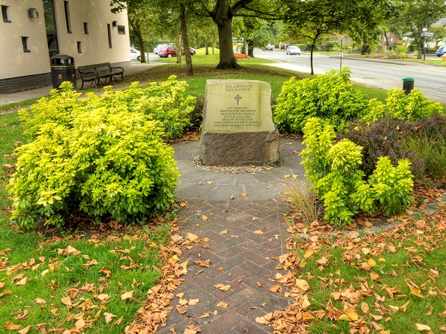 Millennium Stone next to Holmes Chapel Library