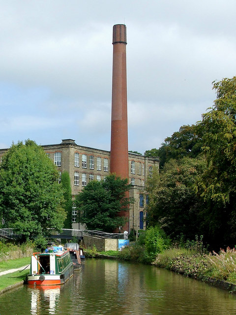 Canal and Clarence Mill at Bollington, Cheshire