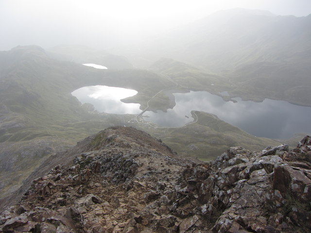 View from the top of Crib Goch's eastern buttress