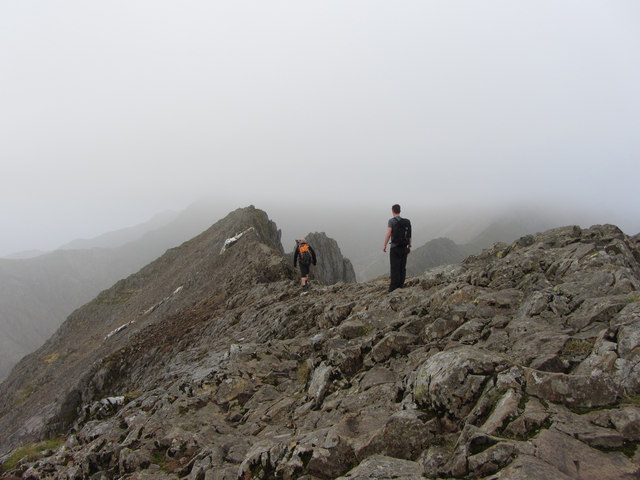 Starting off along Crib Goch's ridge
