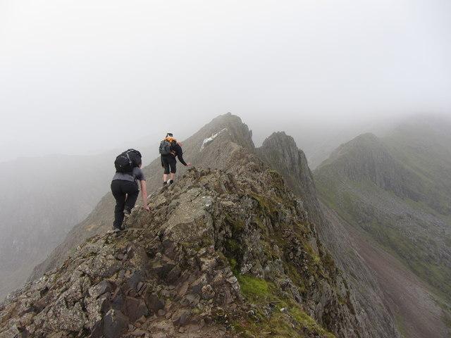 Heading along Crib Goch's ridge