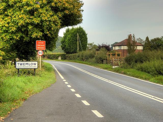 Macclesfield Road approaching Twemlow Green