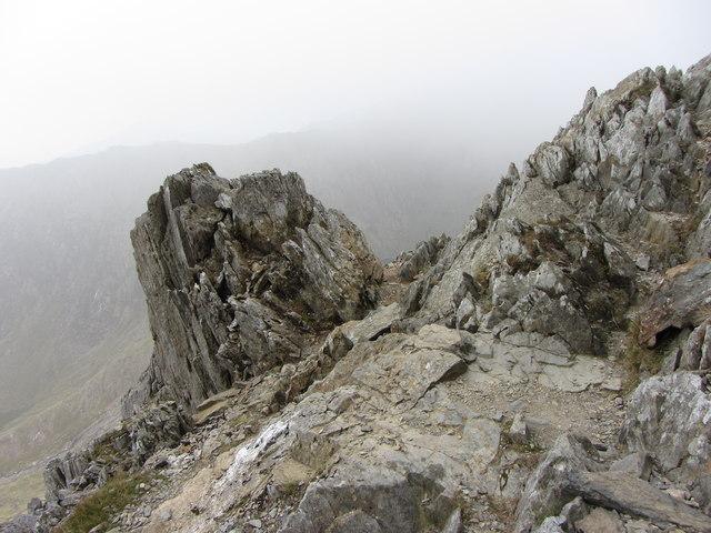 Rocky outcrop beside the first pinnacle of Crib Goch