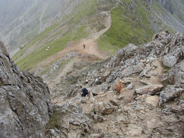 Crib Goch: descent from the third pinnacle