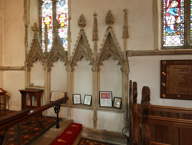 St Mary, Great Leighs - Piscina & sedilia