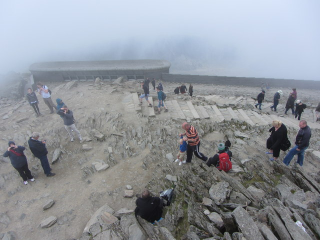 Looking down from the summit of Snowdon
