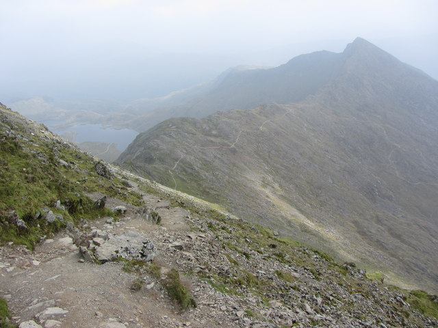 Looking down the Watkin Path towards Y Lliwedd
