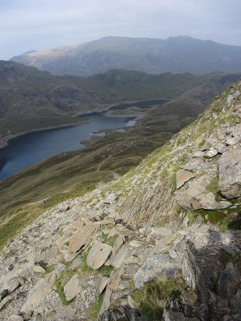 Steep descent towards Llyn Llydaw