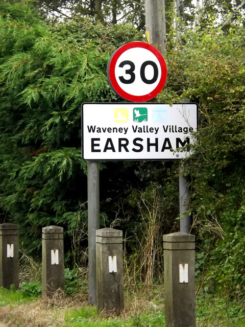 Earsham Village Name sign on The Street