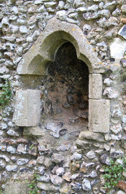 Creake Abbey, North Creake - ruin - piscina