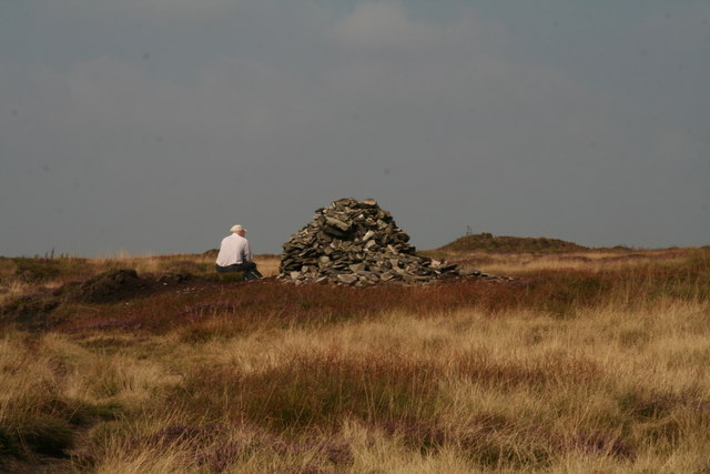 Distinctive but ever-changing cairn on Tooleyshaw Moss