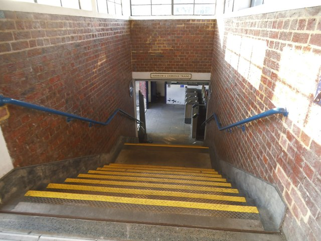 Steps to the westbound platform at Sudbury Town Station