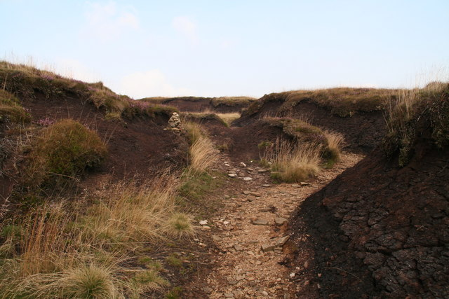 Mini-cairn on the path through Tooleyshaw Moss