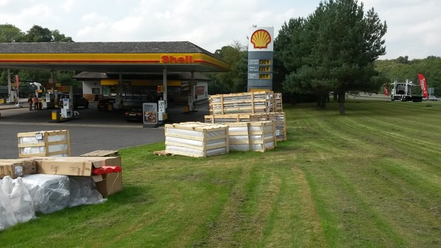 Fuel station with packing crates
