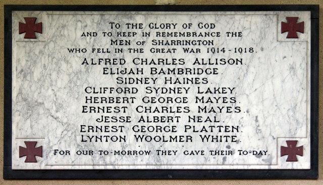 All Saints, Sharrington - Wall monument WWI