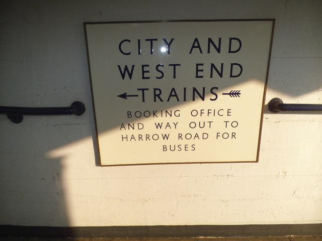 Enamel sign at Sudbury Town Station