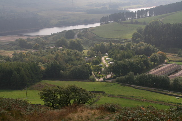 Looking down on Crowden campsite from the path from Black Hill