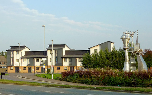 New housing with sculpture in Etruria, Stoke-on-Trent