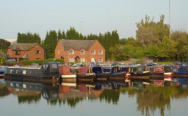 Narrowboat marina in Etruria, Stoke-on-Trent