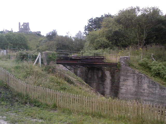 Skew Bridge carrying old tramway over Swanage railway near Norden