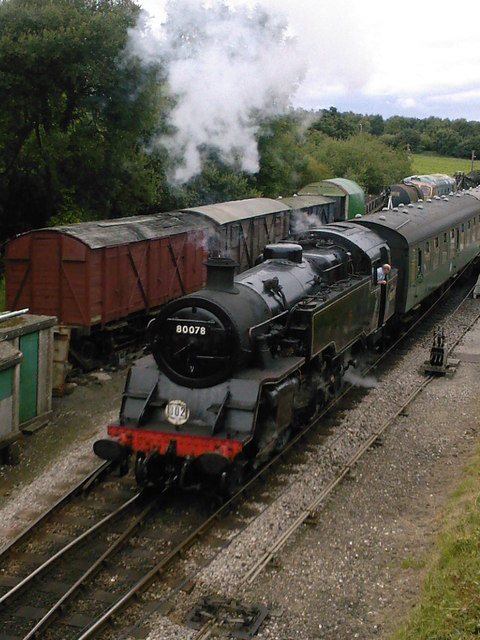 BR Class 4MT no.80078 leaving Norden Station on the Swanage Railway