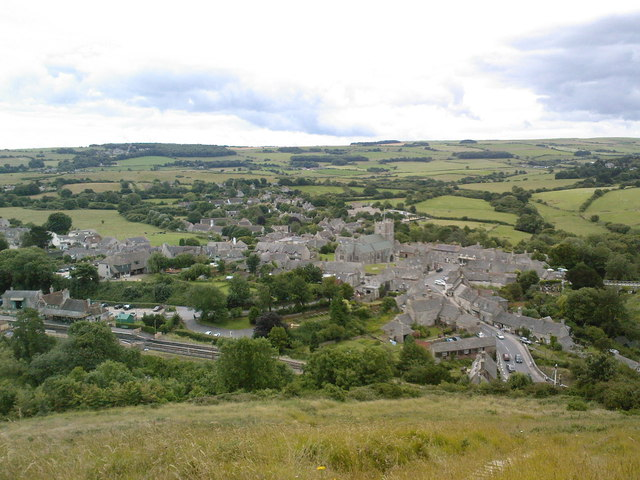 Corfe Castle village from East Hill