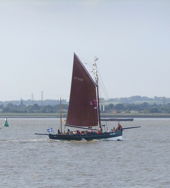 A Shetland fishing lugger in the Thames Estuary: 'Swan'