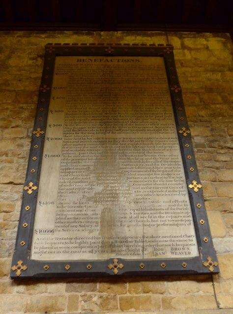 St Mary, Melton Mowbray: benefactions board