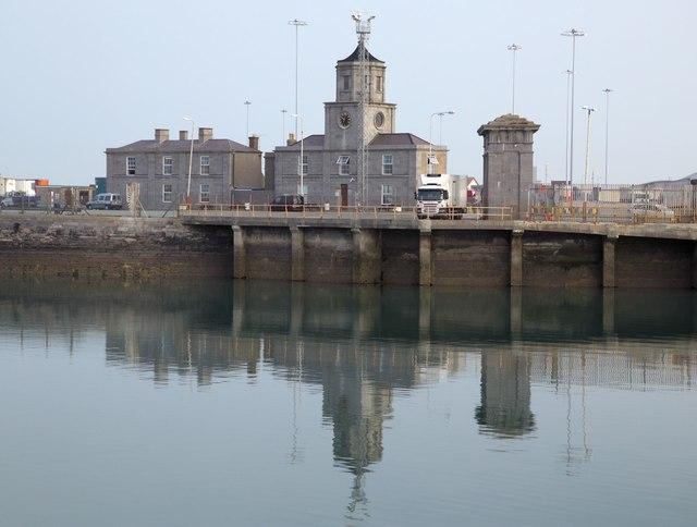 Port buildings & clock tower at Salt Island, Holyhead