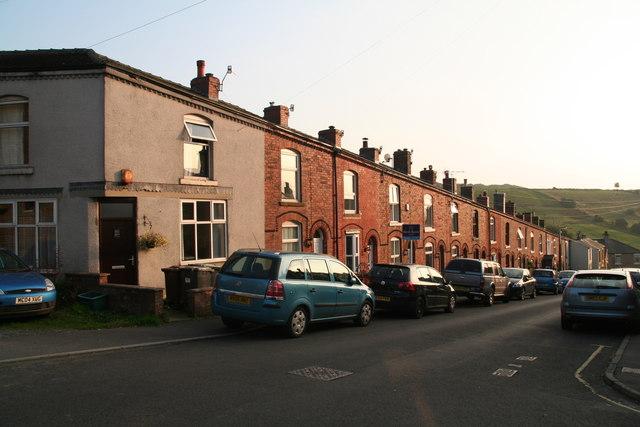 Brick houses in Post Street Padfield