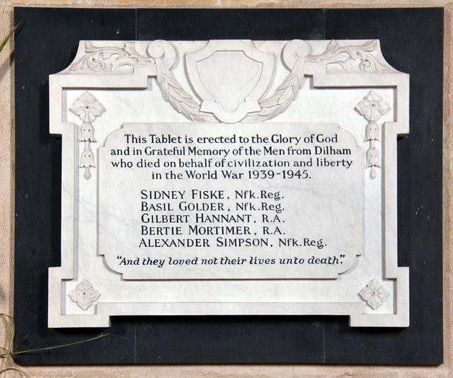St Nicholas, Dilham - War Memorial WWII