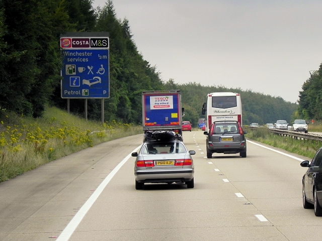 Southbound M3 near Winchester Services