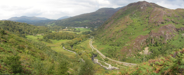 View north from Bryn Du over the Pass of Aberglaslyn