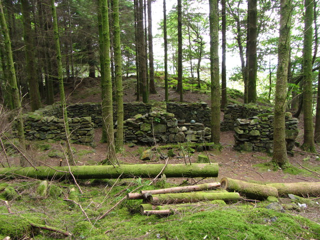 Building remains in Aberglaslyn Woods