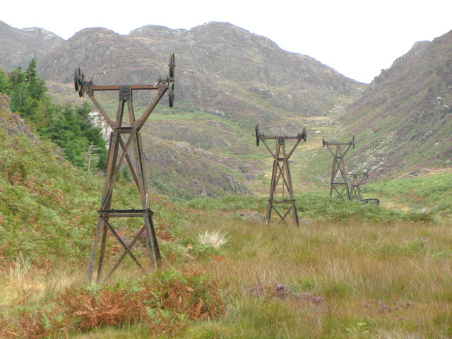 Remains of aerial cableway in Cwm Bychan