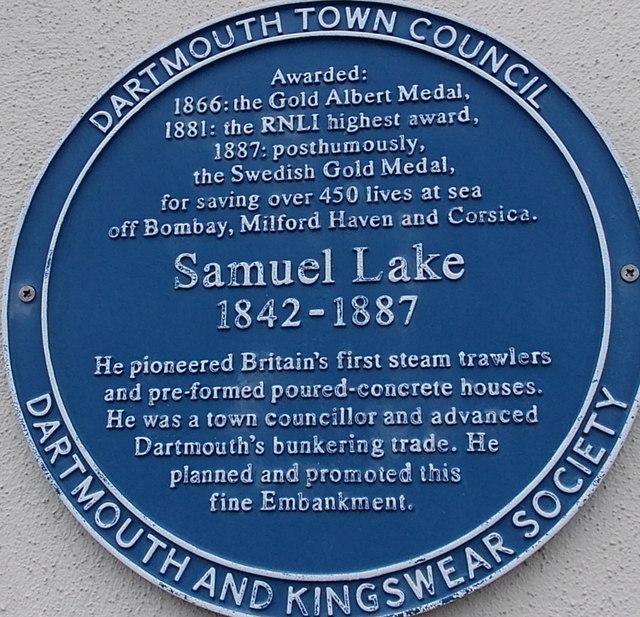 Samuel Lake blue plaque in Dartmouth