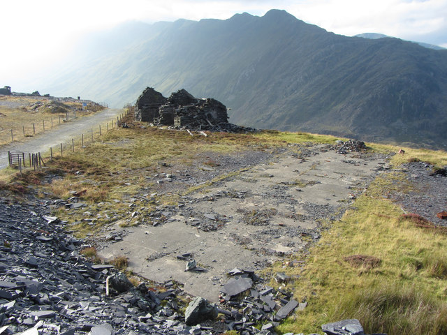 Looking back onto the C3 incline drum house, Dinorwic Quarry