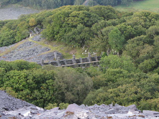 Looking down onto Anglesey Barracks, Dinorwic Quarry